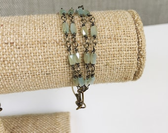 Light Mint Quad Strand Crystal Bracelet