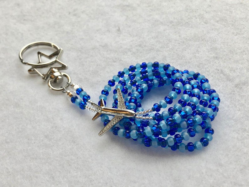 and Blue Beads Star Clasp Flight Attendant ID Lanyard with Silver Airplane