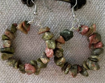 Unakite Hoop Earrings, Multicolored Hoop Earrings, Natural Stone Earrings, Stone Earrings, Green Hoop Earrings, Pink Hook Earrings