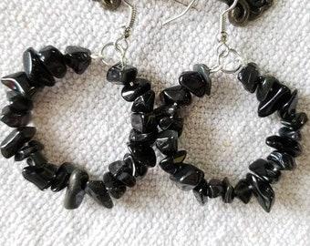 Black Jet Quartz Hoop Earrings, Hoop Earrings, Dangle Earrings, Stone Earrings, Natural Stone Jewelry