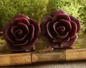 Burgundy Flower Plugs, Burgundy Wedding Plugs, Burgundy Wedding Gauges, Burgundy Prom Plugs,  Burgundy Rose Plugs , Dark Red Rose Plugs