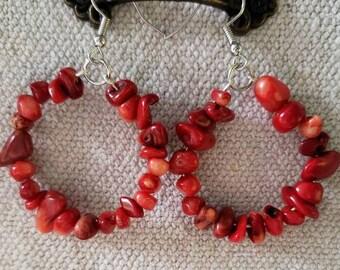 Red Bamboo Coral Hoop Earrings, Multicolored Hoop Earrings, Dangle Earrings, Coral Earrings, Red Hoop Earrings