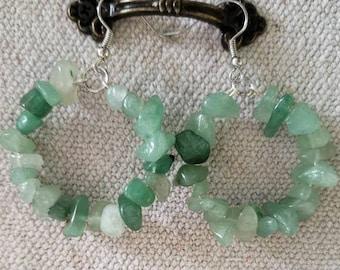 Green Aventurine Hoop Earrings, Multicolored Hoop Earrings, Dangle Earrings, Stone Earrings, Green Hoop Earrings