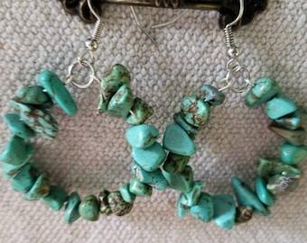 Howlite Turquoise Hoop Earrings, Multicolored Hoop Earrings, Dangle Earrings, Stone Earrings, Blue Green Hoop Earrings