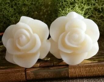 White Flower Plugs, White Wedding Plugs, White Prom Plugs,  Milky White Rose Plugs, White Plugs
