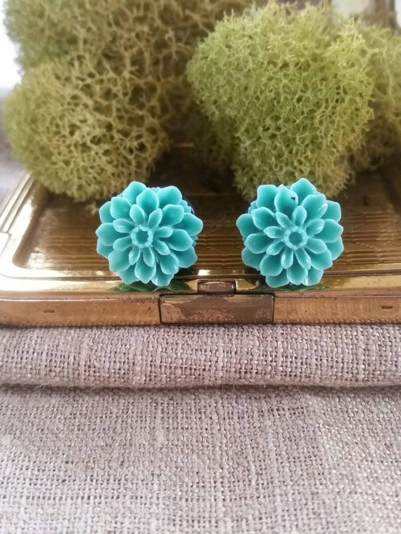 Teal Charming Chrysanthemum Single Flared PlugsSold as Pairs
