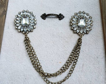 Fancy Vintage Costume Jewelry Repurposed Cardigan Clip