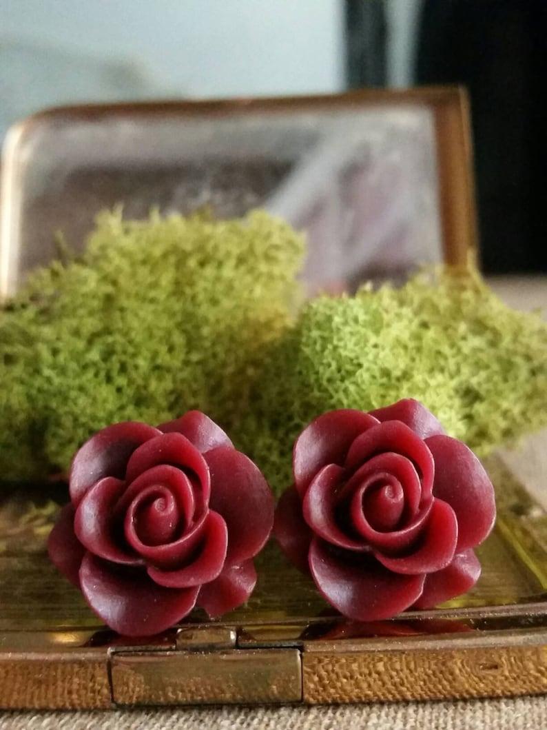 Burgundy Flower Plugs Burgundy Wedding Plugs Burgundy Red Rose Plugs for Stretched Ears Burgundy Prom Gauges
