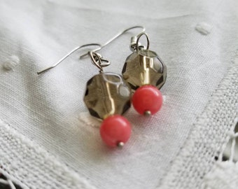 Grey and Coral Earrings