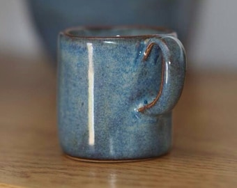 Stoneware Espresso Coffee Cup Blue Rutile full glazed handle PRE ORDER