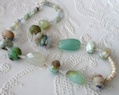 Rough Soft - Peruvian Opal, Sea green Chalcedony and Aquamarine - Necklace
