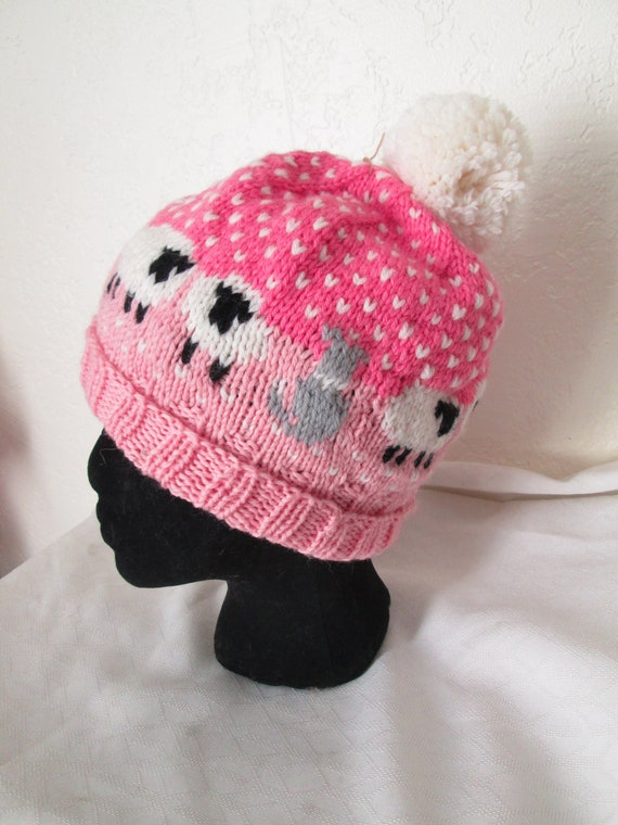 2118842bf45 Hand Knit Pink Wool Sheep Hat with Sheepdog Smaller