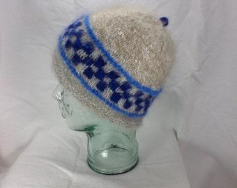 Grey and Blue Angora Hat