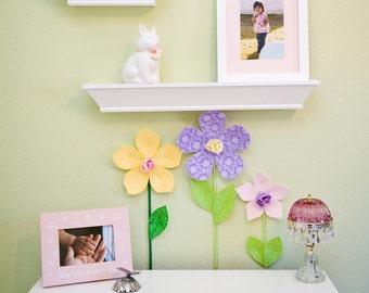 fabric flower garden, girls room, nursery, 3d wall art decor, baby shower gift. custom fabric wall flowers