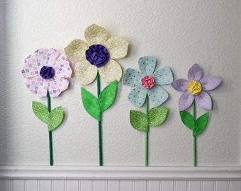 flower wall decal, girls room, nursery decor, wall flowers, 3d art. wall decor. fabric wall flower. mint flower. baby shower gift