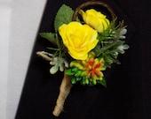 Boutonniere - Mini Silk Rose And Artificial Succulent Boutonniere - Prom Boutonniere - Groom Boutonniere - Groomsmen Boutonniere