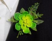 Boutonniere - Artificial Succulent - Groom Boutonniere - Groomsmen Boutonniere - Prom Boutonniere