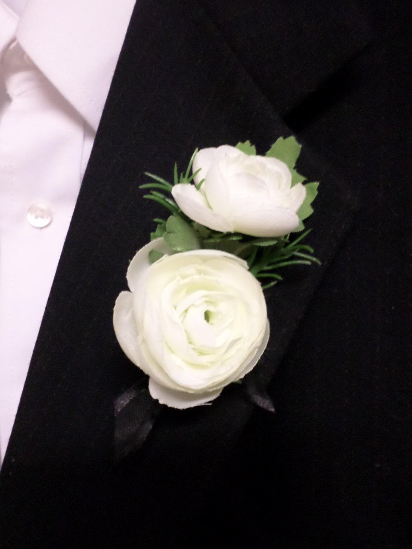 Boutonniere Silk White Ranunculus Flower Boutonniere Etsy
