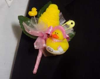 Rubber Duck Baby Shower Boutonniere - Father-To-Be - Grandmother-To-Be - Pink/Yellow Boutonniere - YellowWashcloth Flower