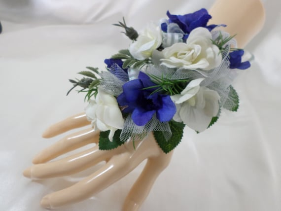 Wrist Corsage Blue Delphinium And White Rose Silk Flower Etsy