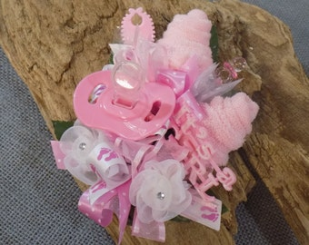 Pin On Baby Shower Corsage - Pin On Baby Girl Corsage - Floral Corsage - Pacifier and Washcloths - Baby Shower Items