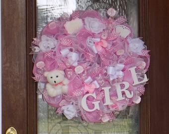 Baby Girl Wreath - Baby Shower Wreath - Door Decor & Wreath - Pink And White Deco Mesh Wreath