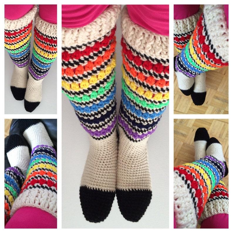 Crochet Sock Pattern Pdf Knee High Sock Crochet Pride Etsy