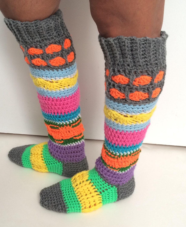 Sock Pattern Knee High Slipper Socks Colourful Crochet Sock Etsy