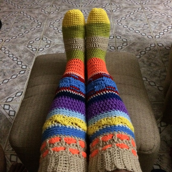 Socks Pattern Knee High Hippie Socks Crochet Knee High Socks Etsy