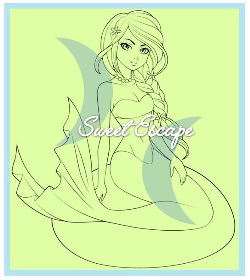 Mermaid Digital Stamp image 0