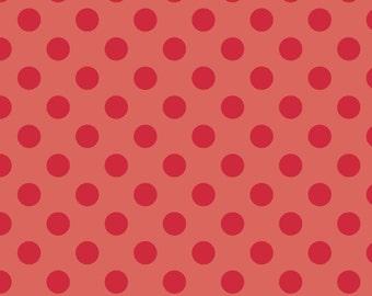 "RED Medium Dots ~ 3/4"" Diameter Dots ~ Tone-on-Tone ~ 100% Cotton Fabric ~ 1/2 yard ~ 18"" x 44"" ~ from Riley Blake C430-80"