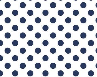 "NAVY Medium Dots ~ 3/4"" Diameter Dots ~ 100% Cotton Fabric ~ 1/2 yard ~ 18"" x 43"" ~ from Riley Blake ~ C490-21"