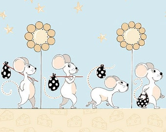 Norton the Mouse ~ 100% Cotton Border Print ~ Norton & Knightley Collection ~ Out of Print ~ 1/2 Yard Cut by Susybee Fabrics ~ SB20161-920