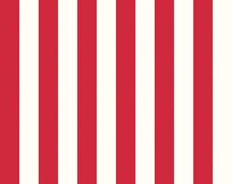 "Riley Blake Designs ""One Inch RED Stripes on Cream"" ~ 100% Cotton Fabric ~ 1/2 yard ~ 18"" x 44"" ~ by Riley Blake Designs ~ C650-80"