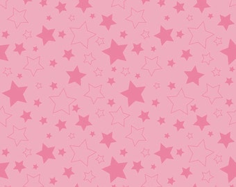 "STARS HOT PINK ~ 100% Cotton Fabric ~ 1/2 Yard Cut ~ 18"" x 44"" ~ Riley Blake Fabrics ~ c410-70 Hot Pink"