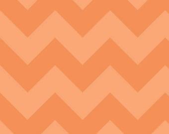 "Large CHEVRON  ~  ORANGE Tone- on-Tone ~ 1/2 Yard Cut ~ 100% Cotton Fabric ~ 18"" x 44"" ~ Riley Blake Designs  ~ C390-61"