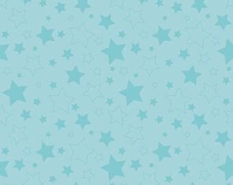 "STARS AQUA ~ 100% Cotton Fabric ~ 1/2 Yard Cut ~ 18"" x 44"" ~ Riley Blake Fabrics ~ c410-20 Aqua"