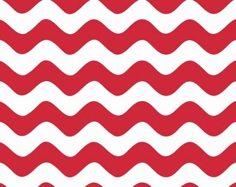 """WAVE ~ Red and White ~ 100% Cotton Fabric ~ 1/2 yard ~ 18"""" x 44"""" ~ from Riley Blake ~ C415-80"""