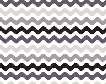 """Small WAVE ~ Black, Gray  and White ~ 100% Cotton Fabric ~ 1/2 yard ~ 18"""" x 44"""" ~ from Riley Blake ~ C415-41"""