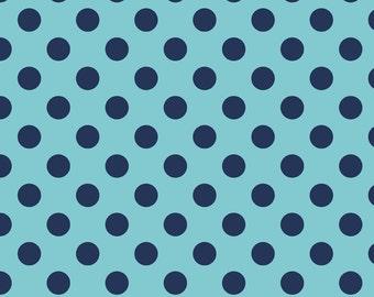 "NAVY Medium Dots ~ 3/4"" Diameter Dots ~ Tone-on-Tone ~ 100% Cotton Fabric ~ 1/2 yard ~ 18"" x 44"" ~ from Riley Blake C430-21"