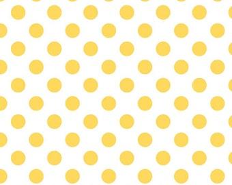 "YELLOW Medium Dots ~ 3/4"" Diameter Dots ~ 100% Cotton Fabric ~ 1/2 yard ~ 18"" x 44"" ~ from Riley Blake ~ C490-50"