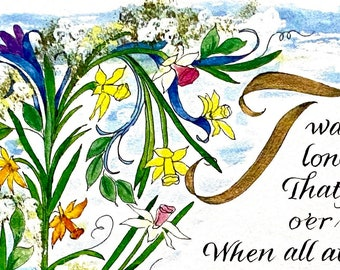 For Kids/childrens room/kids room/Nursery/Fun Colors/Concentrated Water Color/Daffodils/Fields/Nature/Water color art