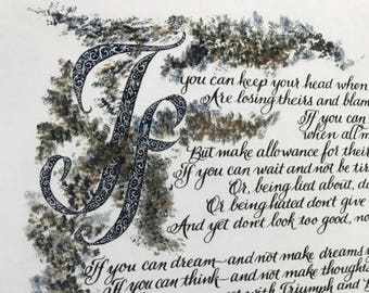 New/If by Rudyard Kipling/ 8 .5 x 11/print of hand lettered original, Paper only, If by Rudyard Kipling/cardstock