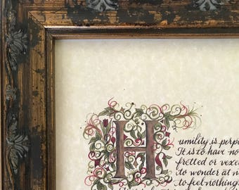 Recovery, Gift, Humility quote by Andrew Murray, Print of Hand Painted Original, print of By hand.
