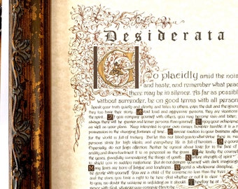 Desiderata/Laser Print of Original/calligraphy By hand/Gold Brown/on White OR Ecru