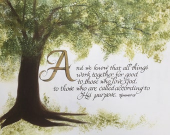 Romans 8:28/Bible Art/Calligraphy/Print of Original/Paper Only
