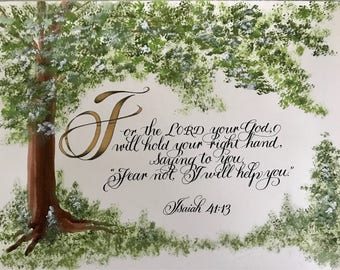 Isaiah 41:13/Bible Art/Calligraphy/Print of Original/Paper Only/Do Not Fear