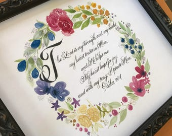 For Her/For Grad/For Mom/Bible Art/Water Color/Psalm 28:7/Strength/Winsor and Newton/floral wreath/Print of original