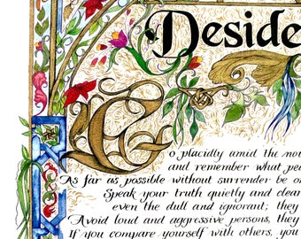 Gift for Boss/Gift for Daughter/Gift for Son/Desiderata/Gift for him/Gift for Dad/Gift for Her/Brilliant Color/Print of Original/Old World