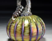 Hand Blown Glass Pumpkin in Green, Yellow, Pink, Red, and Metallic Blue, Purple, Silver, Gold
